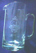 Vintage 8 Crystal Etched Lighthouse Glass Pitcher - Point Judith Ri
