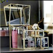Elegant Vintage Glass Makeup Organizer - Gold Lace Perfume Cosmetic/makeup With