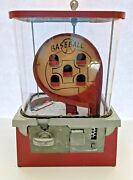 Vintage Baseball Pinball One Cent Gumball Machine Circa 1950and039s Works With Key