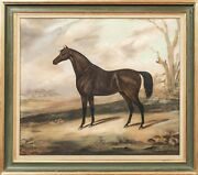 Large 19th Century English Dark Bay Hunter Horse In A Winter Landscape Painting