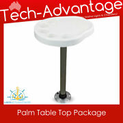Boat White Removable Palm Table Top With Post And Base Inbuilt Drink Cup Holders