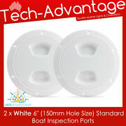 2 X White 6 Boat Marine Inspection Water Oil Petrol Gauge Storage View Ports