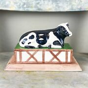 """Beautiful Vintage Holsteins Cow Bordallo Pinheiro Made In Portugal 8x5x4"""" As Is"""