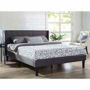 King Grey Upholstered Mid-century Modern Platform Bed With Wingback Headboard