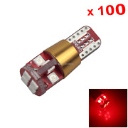 100x Red Car T10 W5w Tail Bulb Clearance Lamp Error Free 12v-24v 12 3030 Smd Led