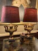 Fine Pair Of Small Antique Italian Carved Giltwood Urn Table Lamps Refurbished
