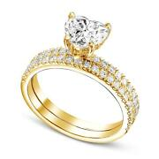 Diamond Engagement Ring And Matching Band 2.25 Ct G Si1 Heart Cut 18k Yellow Gold