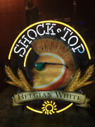 New Shock Top Belgian White Beer Bar Neon Sign 20x16 Real Glass Decor