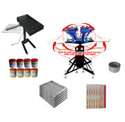 Usa Stock 6 Color 6 Station Screen Printing With Plastisol Ink Press Kit Hot Sal