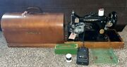 Beautiful Singer Sewing Machine W/ Foot Pedal Lamp Case Key And More Black Works