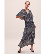 Bn Anthropologie Lilly And Lionel Black White Maxi Floaty Gothic Boho Party Dress