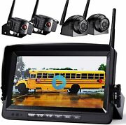 """Xroose Wireless Backup Camera Built-in 9"""" Monitor Kit System Rear Side View Wx4"""