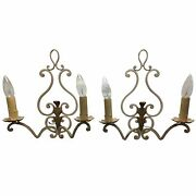 French Painted Wrought Iron Sconces - A Pair