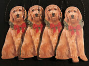 """Set Of 4 Christmas Golden Doodle Wooden Holiday Bow - Christmas Ornament 5"""" New"""