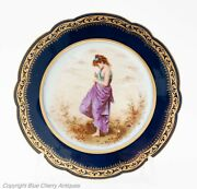 Antique Paris Porcelain Cabinet Plate Of Young Maiden By M Picard For Mansard