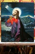 Greece Greek Icon, Painting Jesus Christ On The Mount Of Olives Handmade-oil