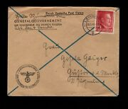 Germany Wwii From Office General Governor Galicia Hitler Head Lemberg Cover 10f
