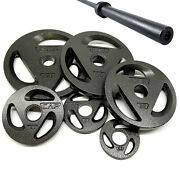 New Cap 300lbs Barbell Set Gym Equipment Home Fitness 7ft Bar + 2 Weight Plates