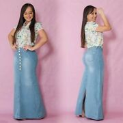 Womenand039s Denim Skirts A-line Jeans Floor-length Maxi Long Casual Skirt Plus Size