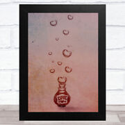 Love Bottle With Floating Hearts Home Wall Art Print