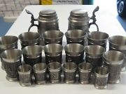 Complete Whole Set 20 Pc Antique German Solid Pewter Embossed And Engraved Cups