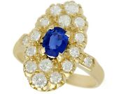 Vintage French Sapphire And Diamond 18ct Yellow Gold Dress Ring Size M