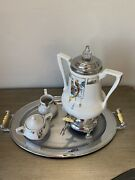 Fraunfelter Royal Rochester China Deco Hand Painted Tea Pot,creamer And Sugar