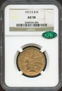 1913 S 10 Gold Indian Au 58 Cac Ngc Near Mint Pq Coin