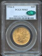 1916 S 10 Gold Ms 62 Cac Pcgs Better Date Pq Coin