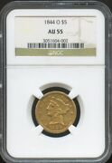 1844 O 5 Gold Liberty Au 55 Ngc Better Date Nice Coin