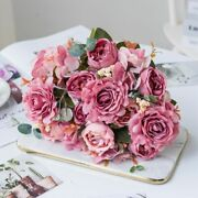 Weddings Flower Roses Vintage Artificial Silk Holding Bouquets Vases Fake Plants