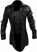 Menand039s Real Black Leather Goth Matrix Trench Coat Steampunk Gothic Jacket