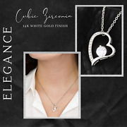 For My Stepdaughter -14k White Gold Finish Necklace/solitaire Earring Set
