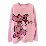 Women Hippy Sweater Cartoon Pink Panther Embroidery Winter Warm Knitted Pullover