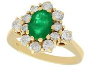Vintage 1.30 Ct Emerald And 0.65 Ct Diamond 18k Yellow Gold Dress Ring