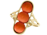 Antique 3.60ct Coral And 14ct Yellow Gold Dress Ring