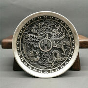 Chinese Antiques Tibetan Silver Dragon And Phoenix Dishes