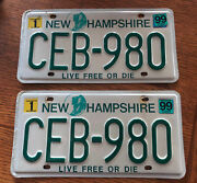 Pair Of Vintage 1999 State Of New Hampshire Auto License Plates Live Free Or Die