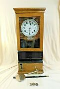 Antique 1927 International Time Recording Time Clock Punch Clock With Key Oak