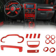 14x Interior Accessories In-dash Trim Cover Kit For 2007-10 Jeep Wrangler Jk Red