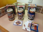 Lot Of 3 Anheuser Busch Budweiser Holiday Stein 1997 1998 And 2000 Mugs Christmas