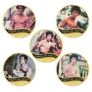 5pcs Famous Movie Actor Bruce Lee Gold Plated Coins Collectibles Challenge Coins