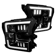 For Ford F-150 15-17 Headlights Black/smoke Mustang Led Tri-bar Style