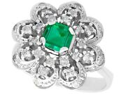 Vintage 0.73 Ct Emerald And 0.70 Ct Diamond 10 Ct White Gold Dress Ring