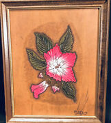 Carved Tooled Leather Art Picture Rose Mallow Vintage Signed 9 X11 Framed