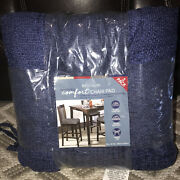 Chair Pads Cushions 2 Pk Plush Chenille Whitley Willows Soft15x15.75 Navy