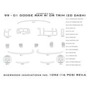 For Dodge Ram 3500 99-01 Sherwood 2d-1092-di 2d Black Standard Dash Kit 16 Pcs