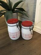 Red And White Wheaton Milk Glass Vintage 2 Piece Canister Set Flour And Tea
