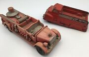 Vtg 1940's Usa Auburn Rubber Lot Of 2 - Fire Truck 500 And Cab Over Open Back 518