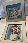 Beaded Cross Stitch Seashells Conch And Shell With Ceramic Button Stars Great Gift